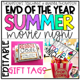 End of the Year Gift Tags   Movie Night