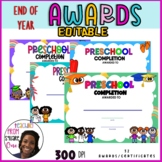 END OF YEAR AWARDS AND CERTIFICATES - PRE-K COMPLETION - Preschool Graduation