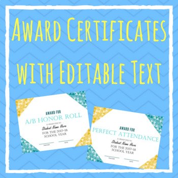 END OF YEAR -- Award Certificates with EDITABLE Text