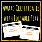 END OF YEAR -- Award Certificates with EDITABLE Text (Style 2)
