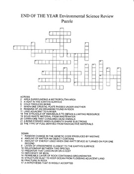 END OF YEAR Environmental Science Review Crossword Puzzle