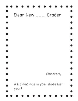END OF YEAR Letter To New ___ Grader