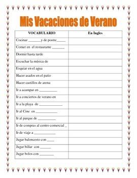 SPANISH FAMILY SUMMER VACATION- Mis Vacaciones en Familia