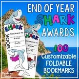 End of Year Shark Award Bookmarks - 100 Foldable & CUSTOMIZABLE