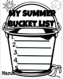 END OF YEAR/SUMMER bucket list Writing activity