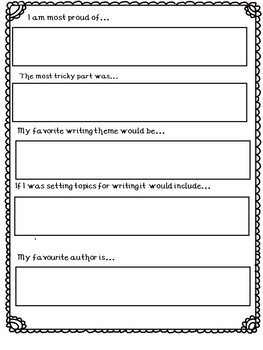 END OF YEAR WRITING REFLECTIONS (Editable)