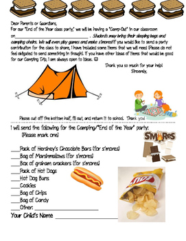 END of the YEAR- CAMPING PARTY THEME- PARENT LETTER