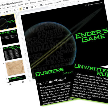 ENDER'S GAME Journal - Quickwrite Writing Prompts (Created for Digital)