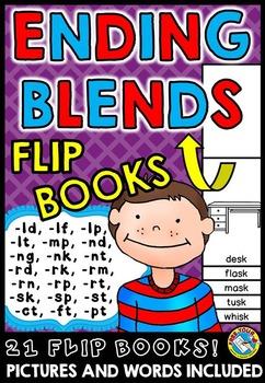 ENDING BLENDS FLIP BOOKS●ENDING BLENDS FLUENCY PRACTICE●ENDING BLENDS PRINTABLES