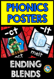 ENDING BLENDS POSTERS (BLACK AND BRIGHTS CLASSROOM DECOR)