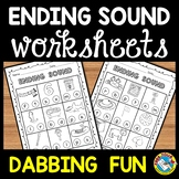 ENDING SOUNDS WORKSHEETS (KINDERGARTEN PHONICS WORKSHEET PACK)