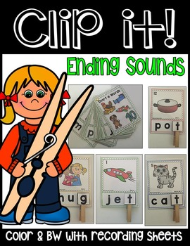 ENDING SOUNDS PHONEMIC AWARENESS LITERACY CENTER- CLIP IT