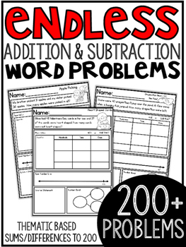ENDLESS Addition and Subtraction Themed Word Problems (wit