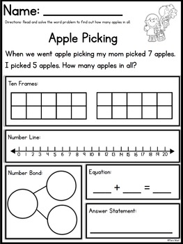 Addition and Subtraction Themed Word Problems (within 20)