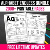 ENDLESS BUNDLE Alphabet Tracing Worksheets, Alphabet Worksheets A-Z