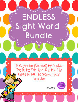 Sight Word Bundle ENDLESS