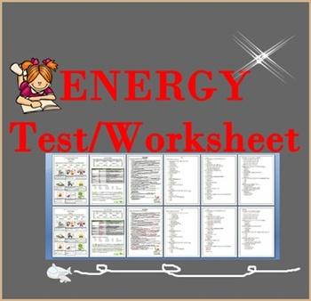 ENERGY Test/Worksheet