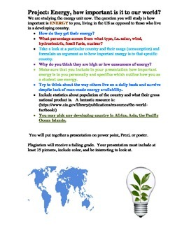 ENERGY IN OUR WORLD PROJECT: IB SCIENCE OR MIDDLE SCHOOL SCIENCE