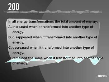 ENERGY UNIT REVIEW THINKEPARDY POWERPOINT GAME
