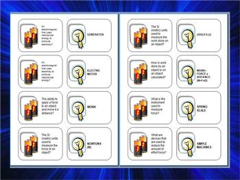 ENERGY VOCABULARY REVIEW CARD GAME