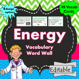 ENERGY WORD WALL Science Vocabulary