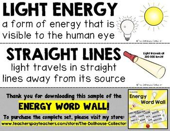 ENERGY WORD WALL Freebie Sample! Light energy