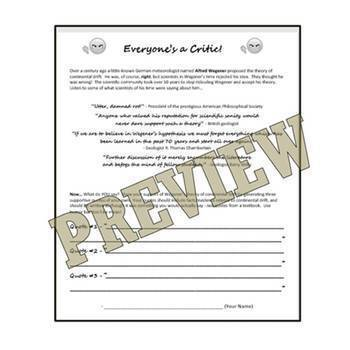 ENGAGING Continental Drift Activity Worksheet NGSS MS-ESS2-1 MS-ESS2-2