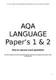 ENGLISH AQA LANGUAGE PAPER'S 1 & 2 REVISION & STUDY GUIDE