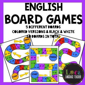 ENGLISH Board Games (Boards/Game Pieces/Question Sheet TEMPLATE!)
