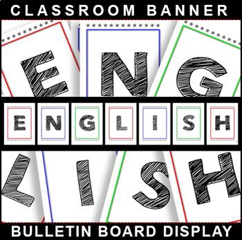 ENGLISH Bulletin Board Display for Classroom Signage!