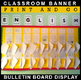 #1 Back-To-School! ENGLISH POSTER Bulletin Board Display for Classroom Signage!