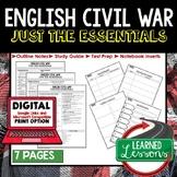 ENGLISH CIVIL WAR Outline Notes, English Civil War Bullet Notes, Unit Review