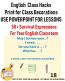ENGLISH (ESL) CLASSROOM SURVIVAL EXPRESSIONS TOP 50