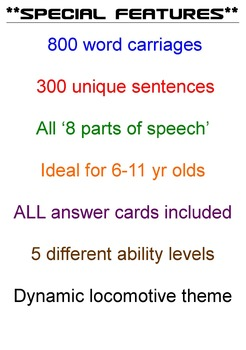 ENGLISH LITERACY:GRAMMAR: Loco- Sentence Trains 1-2-3-4-5 ACTIVITY PACK