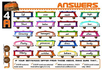 ENGLISH LITERACY:GRAMMAR: Loco- Sentence Trains Kit 04