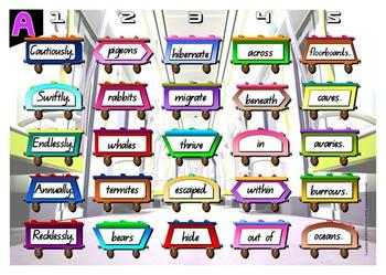ENGLISH LITERACY:GRAMMAR: Loco- Sentence Trains Kit 05