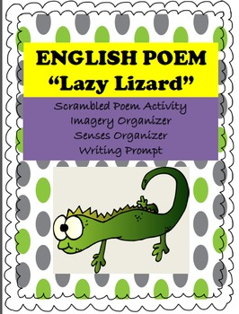"""Poetry English """"Lazy Lizard"""" Imagery, Senses, Writing Organizers INCLUDED"""