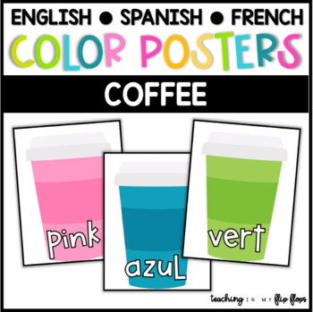 Color Posters:  Coffee Theme in ENGLISH, SPANISH & FRENCH