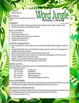 ENGLISH: Spelling and Vocabulary; Word Jungle Activity Pack and Book