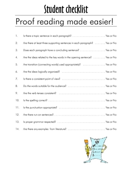 ENGLISH Student checklist - Proof Reading