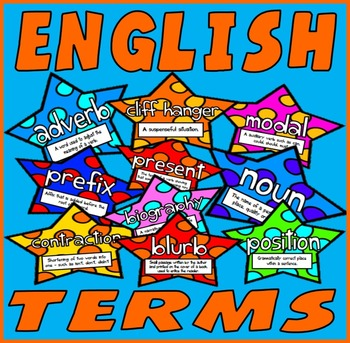 ENGLISH TERMS FLASHCARDS 200xA4  RESOURCES DISPLAY LITERACY GRAMMAR