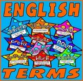 ENGLISH TERMS FLASHCARDS 200xA4  RESOURCES DISPLAY LITERACY GRAMMAR