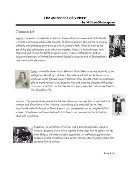ENGLISH The Merchant of Venice - Character List