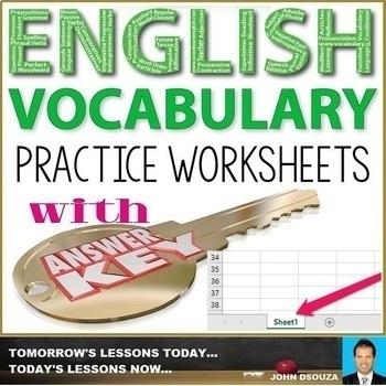 ENGLISH VOCABULARY WORKSHEETS WITH ANSWER KEY: BUNDLE