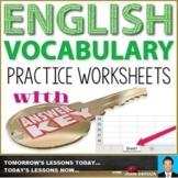 ENGLISH VOCABULARY WORKSHEETS WITH ANSWER KEYS : BUNDLE