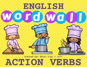 ENGLISH WORD WALL - ACTION VERBS - NEW!