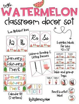 ENGLISH Watermelon Classroom Decor Set! Over 80 pages!