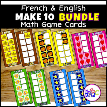 FRENCH and ENGLISH Numbers 0 to 10 Math Game Cards BUNDLE