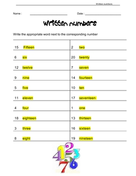 ENGLISH spelling - numbers, MATH
