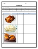 ENL ESL Thanksgiving Reading and Food Worksheet